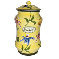 Nonni's Biscotti Cookie Jar Handpainted Yellow Calla Lilly Cookie Canister