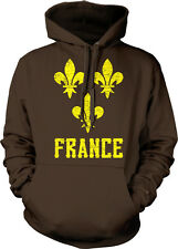Yellow Distressed France Fleur De Lis -French Pride  Hoodie Pullover
