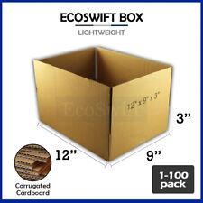 1 100 12x9x3 Ecoswift Cardboard Packing Mailing Shipping Corrugated Box Cartons