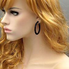 Cute Black Alloy Jet Crystal Rhinestone Hoop Drop Dangle Earrings 00065 Party