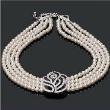 Perlen Collier Kette Halskette Perlencollier Perlenkette weiße Rose Blume Blüte