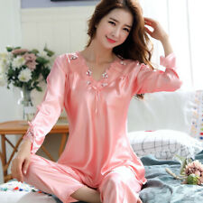 Women Ladies Long Sleeve Silk 2pcs/set Satin Thin Pajamas Suits Summer Sleepwear