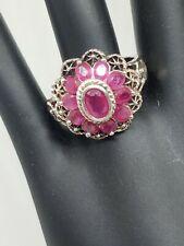 Sterling Silver Filigre Ruby Flower Ring Size 9.5