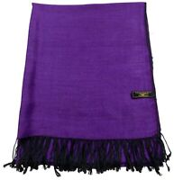 Black & Purple Solid Color Design Shawl Scarf Wrap Stole Pashmina CJ Apparel NEW