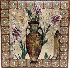 """Damasco Tile Decorative Ceramic Antique Irises Vase 6"""" Hand Made Decorated in UK"""
