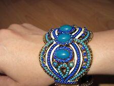 Armspange Armreif aus Indien Blau Gold Strass Steine Armband Party Fest Ball