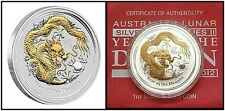 AUSTRALIA • 2012 • Year of the Dragon • Gilded • 1 Ounce Silver (in Shipper)