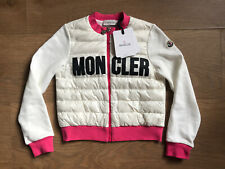 NEW! £270 MONCLER White Pink Logo Padded Zip Up Maglia Cardigan 10Years Kids Top