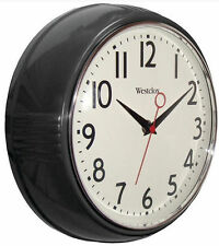 "Westclox Retro Black Kitchen 9.5"" Wall Clock Second Hand Battery from US Seller"