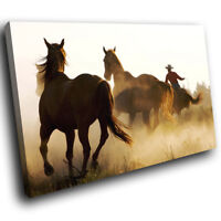 A267 Horses Herd Brown Yellow Funky Animal Canvas Wall Art Large Picture Prints