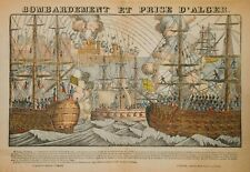 RARE BOMBARDEMENT ET PRISE D'ALGER EARLY 19TH C FRENCH ANTIQUE HAND COLORED W/B
