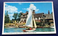 POSTCARD: THE RIVER BURE AND SWAN HOTEL: HORNING: NORFOLK BROADS: UN POSTED