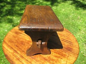 """Antique English Oak Child's Bench or Foot Stool 10"""" High 15"""" Long 8 1/4"""" Wide"""