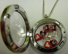 ❤️ Damen Anhänger Medaillon Floating charms Mickey Mouse Maus + Kette ❤️ NEU