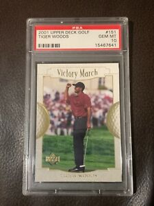 2001 TIGER WOODS UPPER DECK GOLF VICTORY MARCH PSA 10 GEM MINT ROOKIE CARD #151