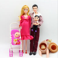 6pcs/lot Dolls Family Educational Real Pregnant Doll Happy Family for Barbie HC