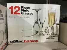 THE CELLAR SET OF 12 CHAMPAGNE FLUTE  GLASSES 6 OZ BARWARE WEDDING TOAST