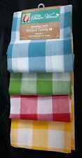 """Pioneer Woman Kitchen Towels Charming Check 16"""" X 28"""" Teal,Red, Yellow Green New"""