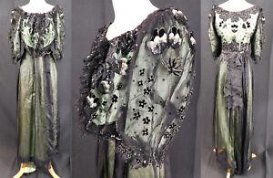 Victorian Green Silk Black Net Sequin Beaded Ball Gown Bodice Skirt Fabric Vtg