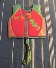 Speedo Child's Pink Life Jacket 33-45 Lbs Age 2-4 Years Old Girl Vest 22� Chest