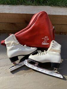 Ladies Vintage Ice Skates Fagan With Original Bag Size 4.5 UK 70s 80s
