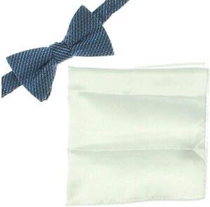 Alfani Mens Perrone Satin Pocket Square Bow Tie Blue O/S
