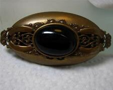 Jan Michaels  Brass Filigree Black Onyx Handmade Pin Brooch Oblong