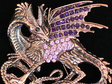PINK PURPLE FAIRY TAIL SPIRITUAL MAGICAL FLYING DRAGON PIN BROOCH JEWELRY 2.50""