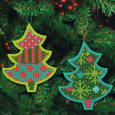 Cross Stitch Kit ~ Set of 2 Jolly Tree Christmas Ornaments #72-08241