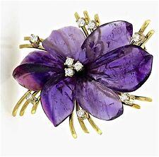 A Large Vintage Amethyst & Diamond Pansy Flower Pendant Brooch Pin