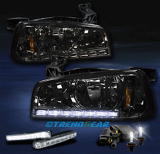 2006-2010 DODGE CHARGER LED CRYSTAL SMOKE HEAD LIGHT LAMP W/6000K HID+DRL SIGNAL