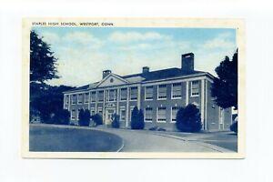 Westport CT antique postcard, Staples High School