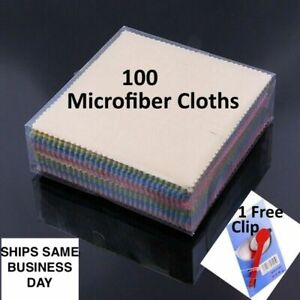 100 Microfiber Cloth Wipes Eyeglass Cleaning Phone Sunglasses Camera Lens Screen