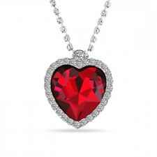 """Titanic Heart Of The Ocean Pendant Necklace Large Red Stone On 20"""" Diamanté New"""