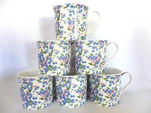 Set of 6 Forget me Not chintz china palace mugs