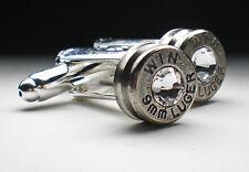 9mm Winchester Nickel Bullet Head Cufflinks Your Choice of Birthstone Swarovski