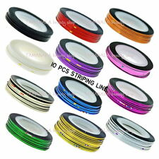 10 Rolls Mix Color Striping Tape Line Nail Art Decoration Sticker Salon Tool New
