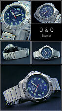 Sporty Q&Q Diver Mens Watch Complete Stainless Steel Azure Blue Easy to Read NEW