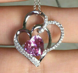 1 Ct Heart Pink Tourmaline & Sim Diamond Womens Pendant 14K White Gold Plated