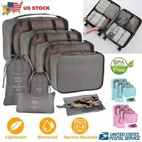 8pcs Travel Clothes Storage Bags Luggage Organizer Pouch Packing Cube Shoe Bag