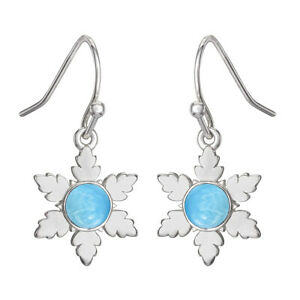 Vintage Floral Larimar 925 Sterling Silver Valentine's Earring Jewelry