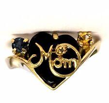 10k yellow gold diamond onyx citrine topaz mom ring 2.8g vintage estate womens