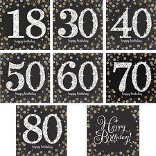 Servietten Geburtstag Happy Birthday 18 30 40 50 60 70 80 Gold-Schwarz-Silber