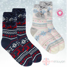 Ladies Lounge Cosy Chunky Knit Slipper Socks Gift Anti-Slip Grippers Size 4-8