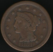More details for 1851 u.s.a. braided hair one cent coin | word coins | pennies2pounds