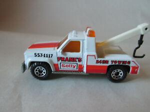 1987 Matchbox GMC Wrecker MB-21 (Frank's Getty Tow Truck White 1:72) Mint