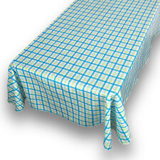 "Country Check Blue Premum Quality Vinyl Flannel Back Square Tablecloth 52"" x 52"""