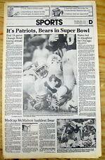1986 newspaper Underdog NEW ENGLAND PATRIOTS Beat MIAMI DOLPHINS&GoTo SUPER BOWL