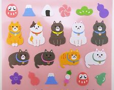 Japanese cat stickers! Kawaii stickers, Mt. Fuji, dango balls, Daruma, onigiri