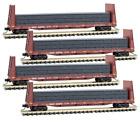 Micro Trains BNSF 61' Bulkhead Flat Car w/ Pipe Load 4 Car Runner Pack N Scale